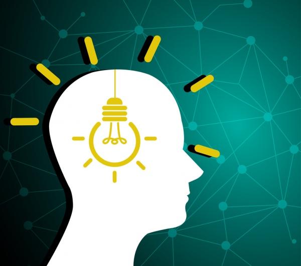 creative idea concept human silhouette and bulb design