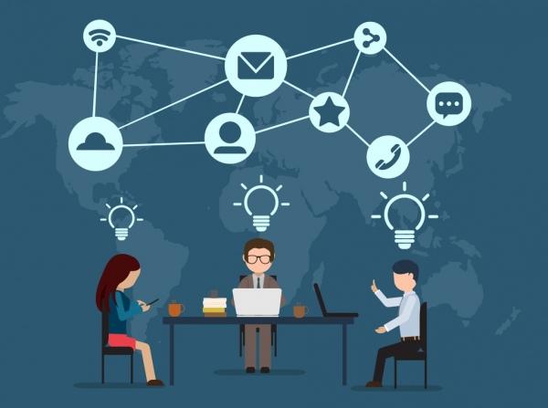 creative idea concept team working business icons design