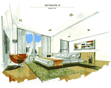 Creative Interior Sketch Design Vector Free Vector In