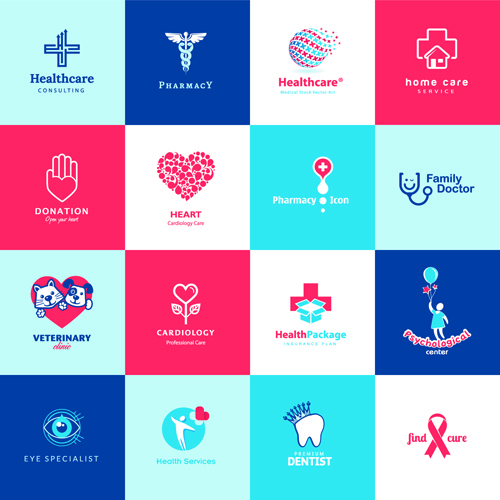 creative medical and healthcare logos vector set