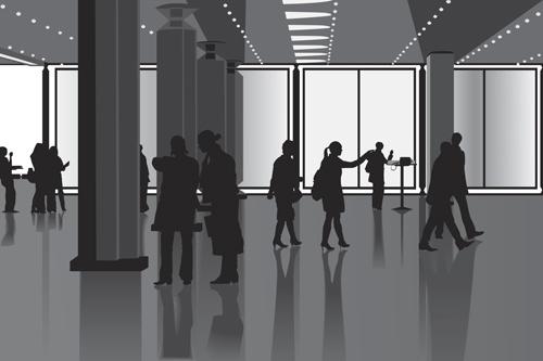 creative people silhouettes design vector set