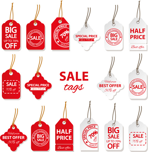 creative red and white sales tags vectors