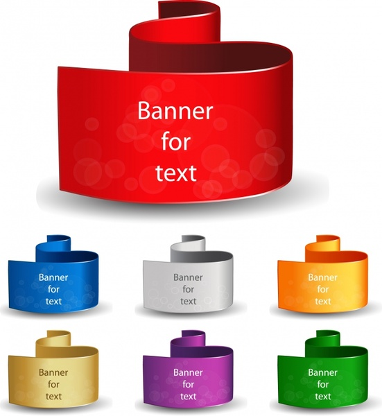 text banner templates modern colored 3d curved shapes