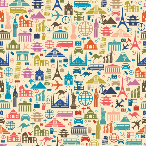 creative travel elements seamless pattern vector