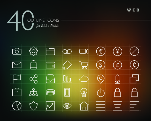 creative web outline icons vector pack