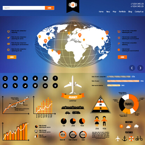 creative world map and infographics vector graphics