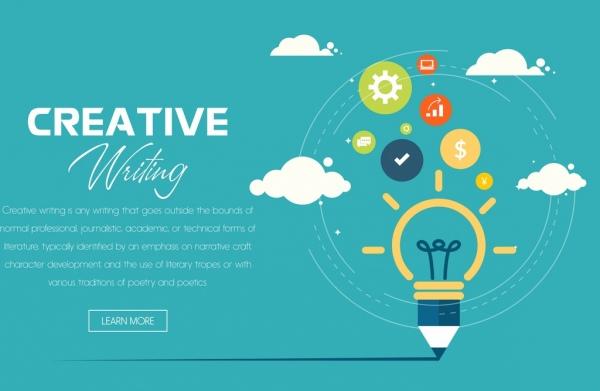 creative writing banner lightbulb pencil icons webpage design
