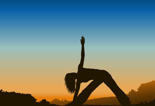 creative yoga and sunset vector