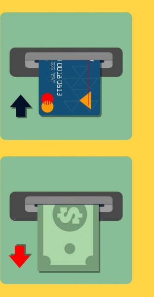credit card advertising colored flat design money icon