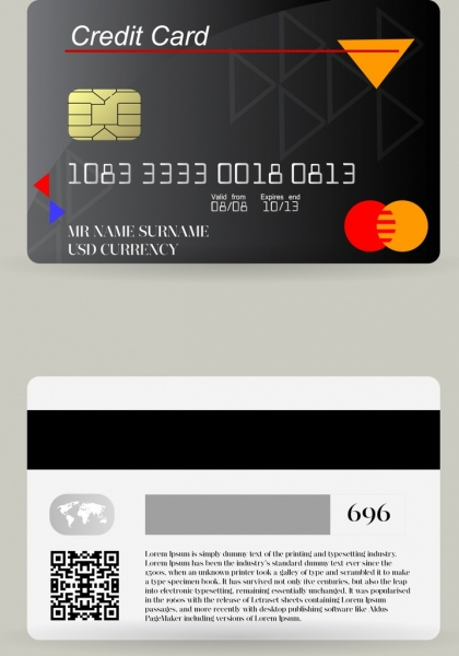 credit card template dark grey decor realistic design