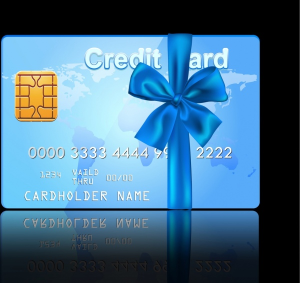 credit card template shiny blue realistic design