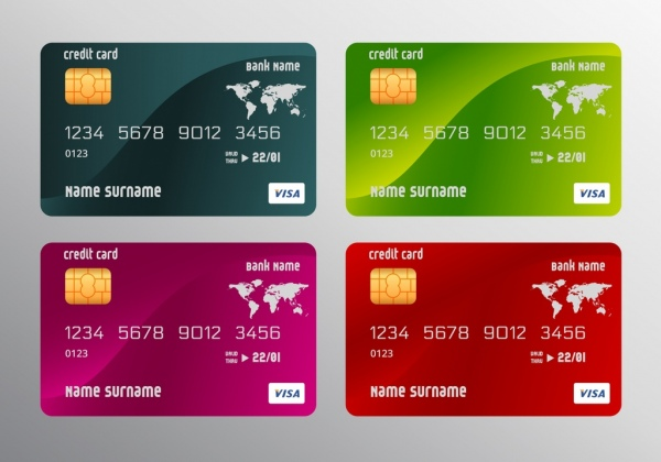 credit card templates realistic multicolored design free vector in
