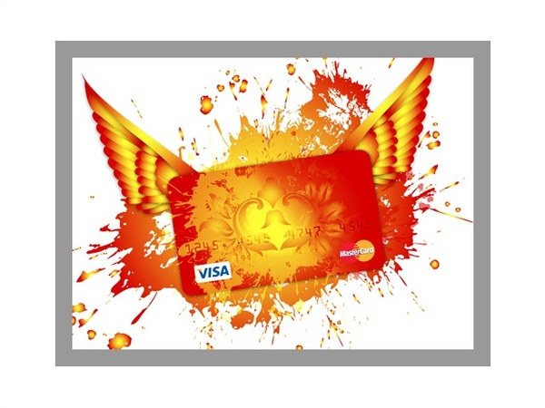 visa card design with wings and color splash