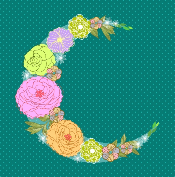 crescent moon icon colorful flowers decoration