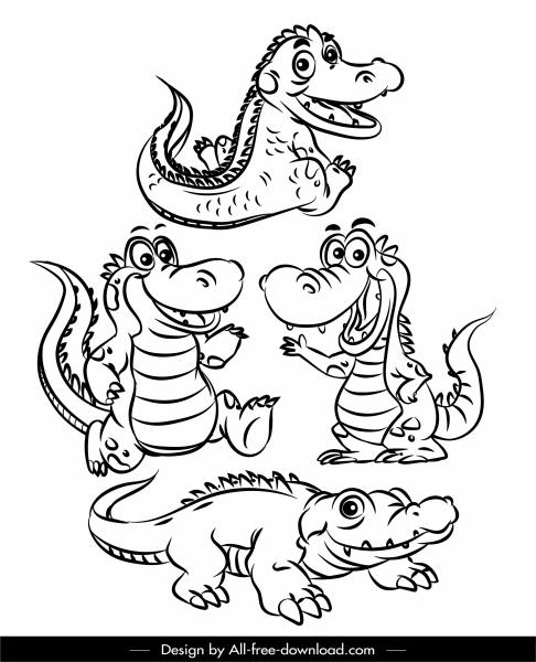 crocodile icons funny cartoon sketch black white handdrawn