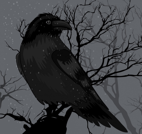 Crow painting dark black design Free vector in Adobe ...
