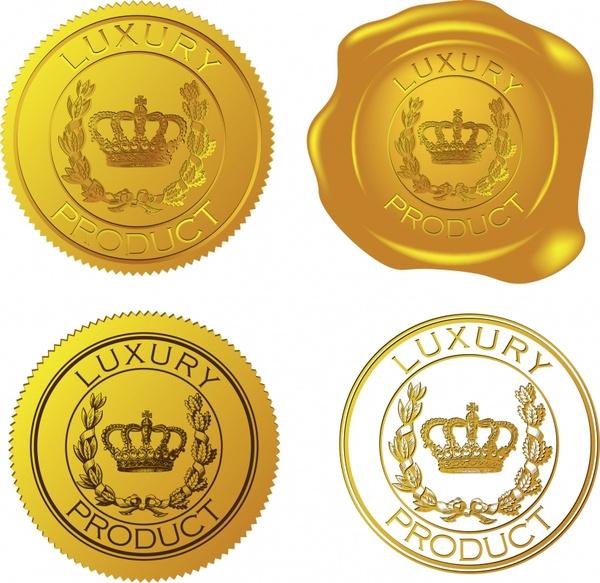 label templates luxury golden design crown cereal ornament
