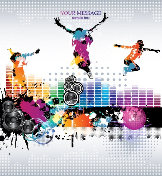 Music party background colorful grunge dancer icons decor
