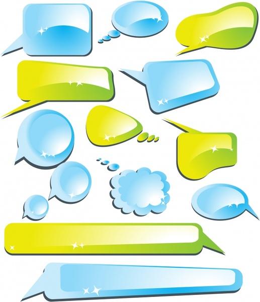 communication bubbles templates modern shiny colored shapes