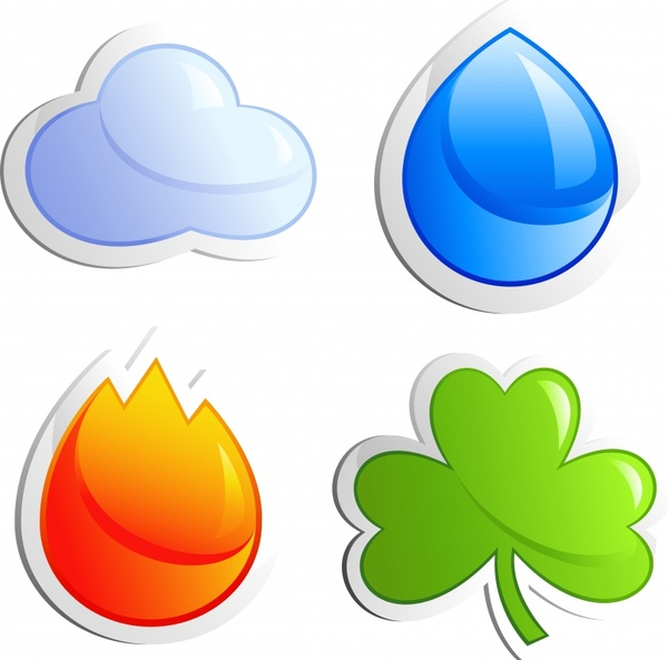 nature icons flat cloud water fire leaf sketch