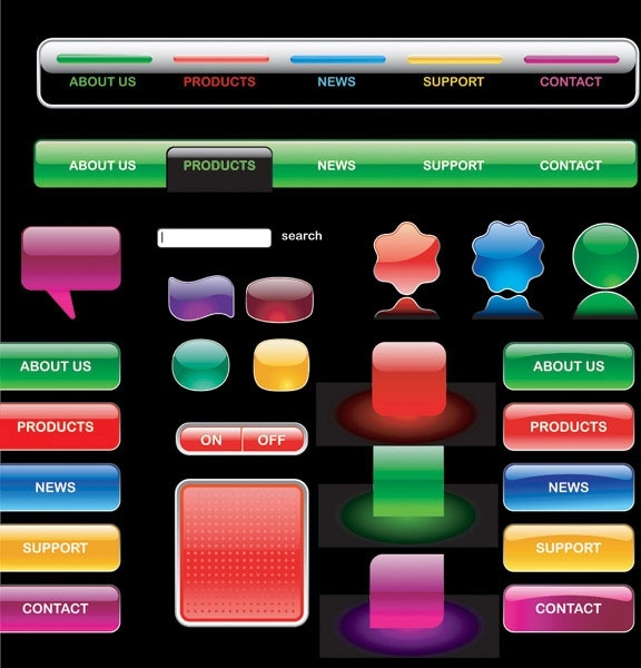 crystalstyle web buttons vector 1