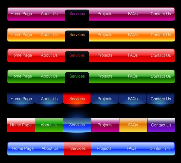 webpage navigation templates modern colored horizontal design