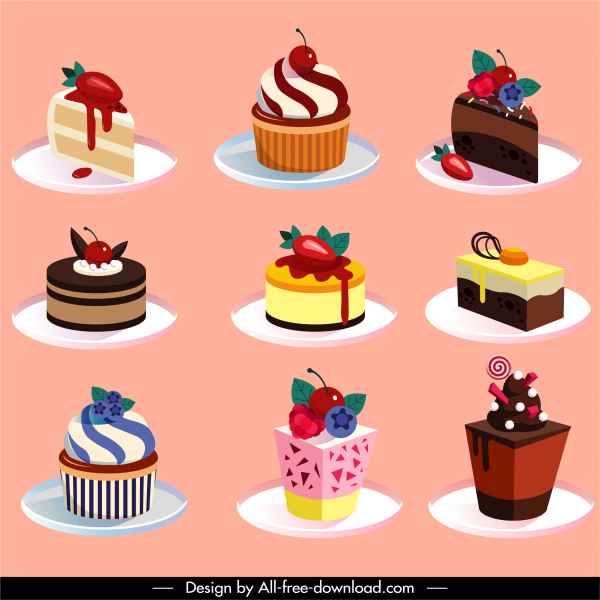 cup cake icons modern colorful decor 3d sketch
