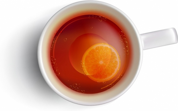 Cup of tea with a slice of lemon