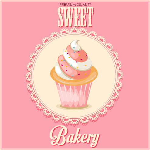 cupcake and sweet card with lace vector