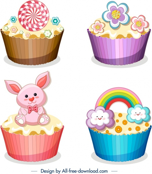 cupcake icons templates colorful modern design cute ornament