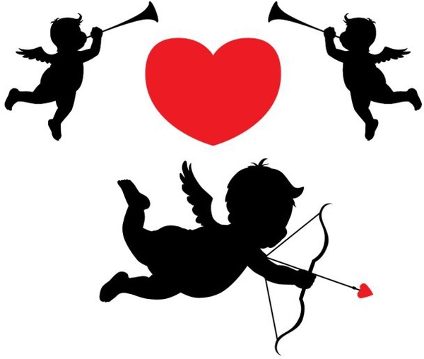 love background heart angels icons silhouette decor