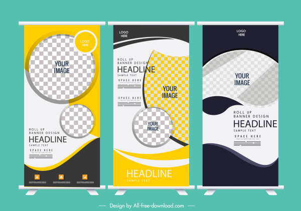 curl up banner templates modern abstract decor