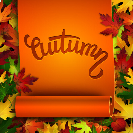 curled paper and autumn leaves background vector