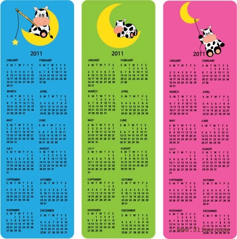 2011 calendar templates cute stylized cow cartoon character