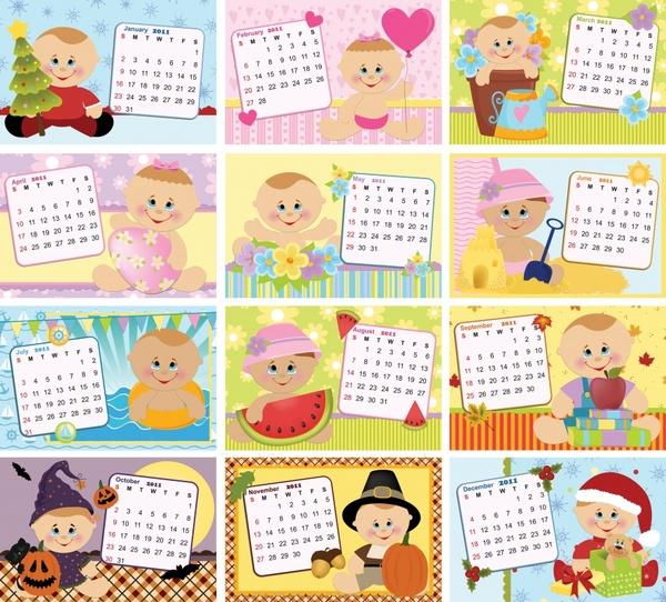 2011 calendar templates cute kid icons decor