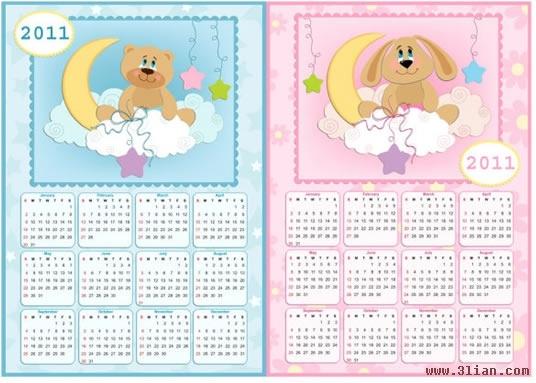 2011 calendar templates cute dog bear icons decor