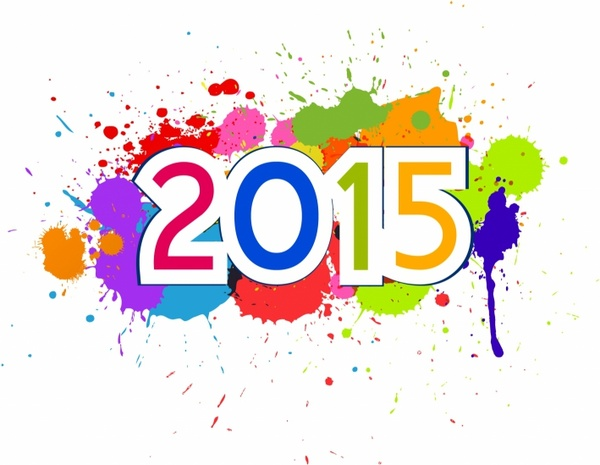 Cute and colorful card on New Year 2015