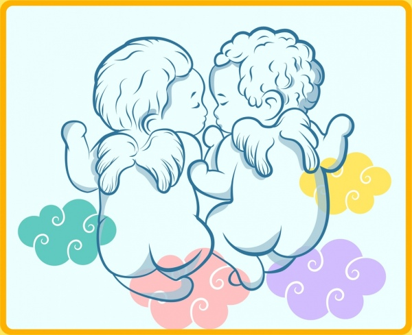 cute angle background colorful clouds kid icons sketch