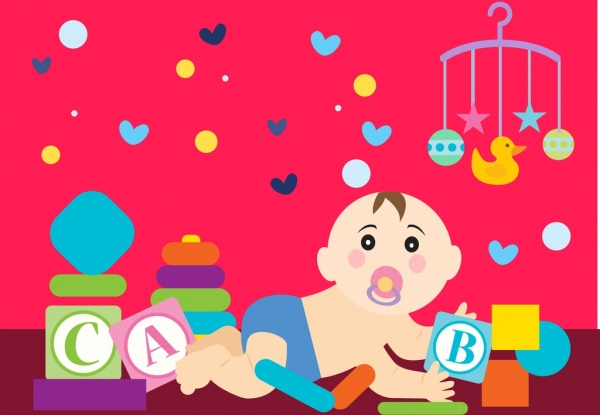 cute baby background playful kid toys icons ornament