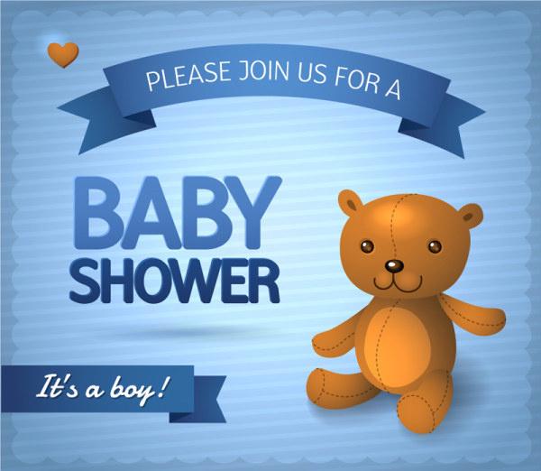 cute baby bear card with ribbon vector