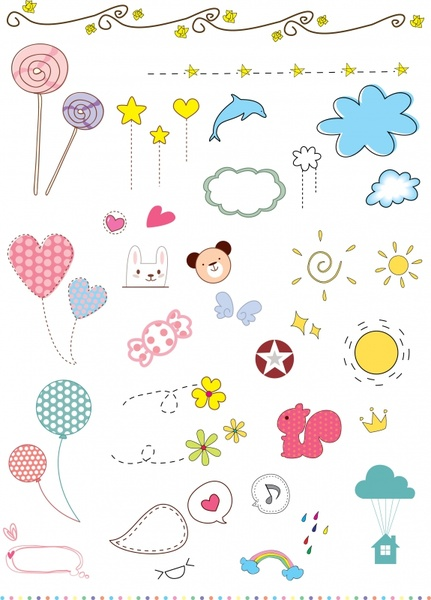 baby shower design elements cute colored flat icons