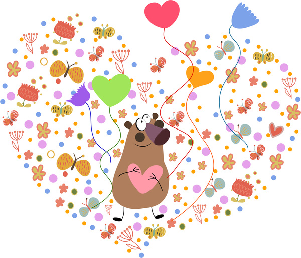 cute bear in heart illustration on white background