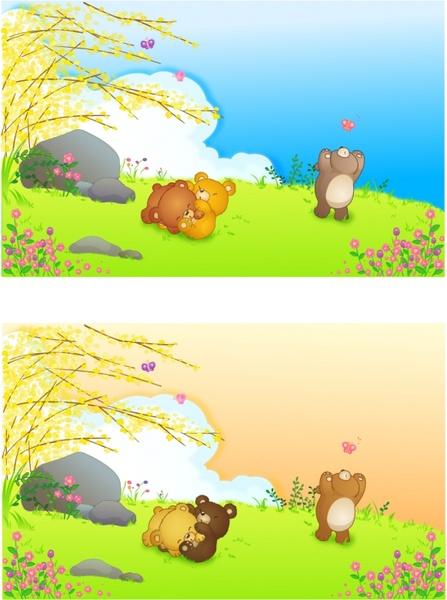 cute bears background sets colorful cartoon design
