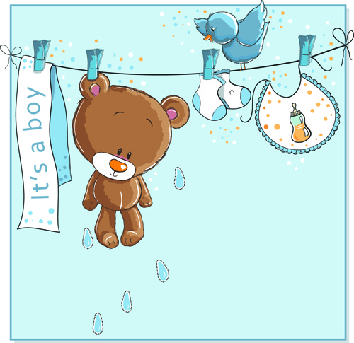 cute bears baby cards design vector