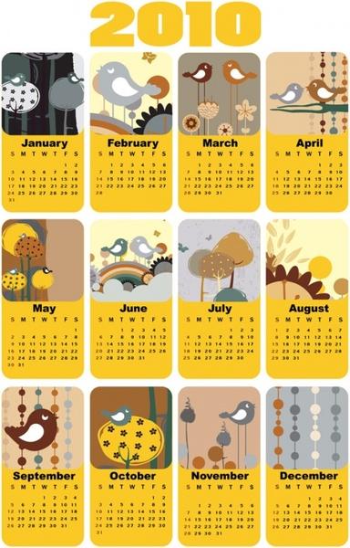 cute bird theme 2010 calendar template vector