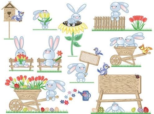 cute bunny easter eggs vector 2