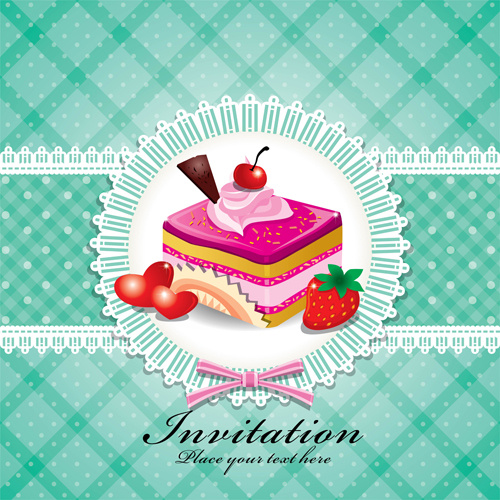Cute Cake Cards Design Elements Vector Free Vector In Encapsulated