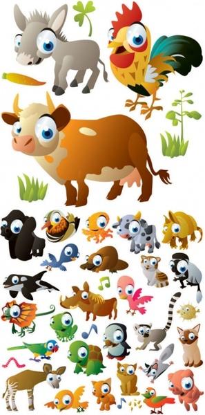 cute cartoon animal images vector