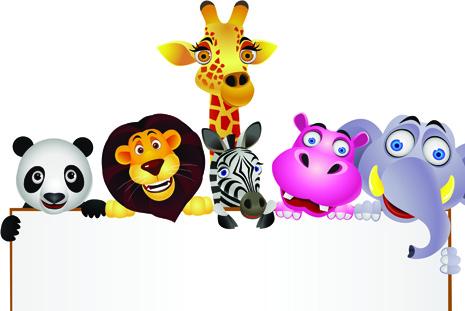cute cartoon animals and billboard vector