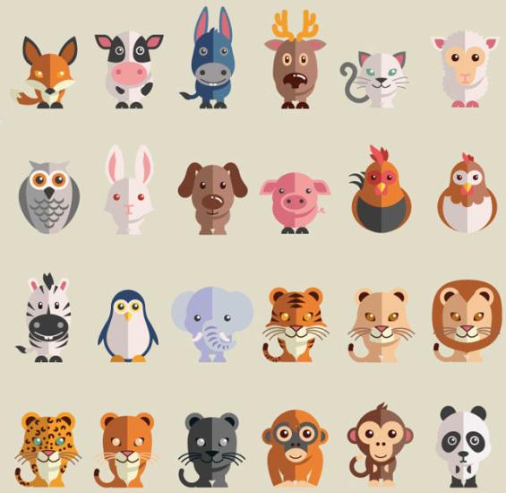 cute cartoon animals free icons vector